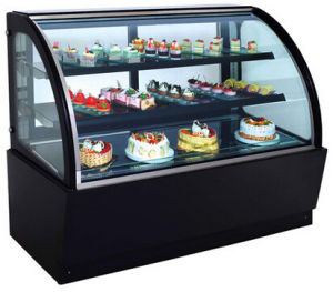 Serigraphy Cake Display Cabinet Glass Curved Front Cover Glass pictures & photos