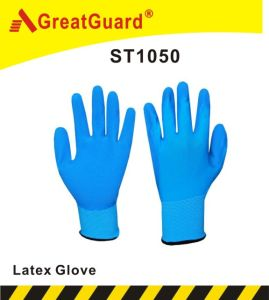Palm Crinkle Anti-Slip Latex Glove (ST1050B) pictures & photos