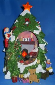 "13.6""Xmas Tree W. Houses. Fiber Optic&LED Light (181-13501AN)"