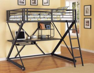 Metal Loft Bed with Desk pictures & photos