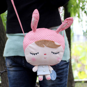 Free Shipping Metoo Fashion Soft and Plush Toy Girl Doll Aslant Bag for Children Gifts, 6 Colors Optional, 21x27cm 1PC