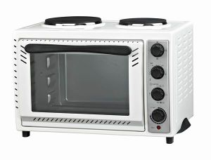 Stainless Steel Electric Toaster Oven with Convection and Rotisserie Function, Hot Plate