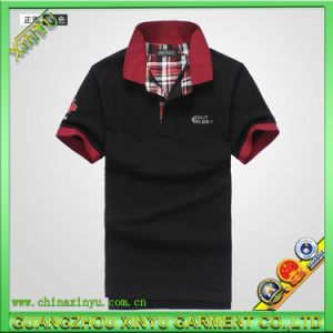 Hot Sell Fashion Black Men Polo Shirt with Embroidery pictures & photos