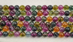 Tourmaline Crystal, Round Gemstone Beads (SFR2020)