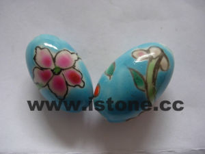 Multi-colored Oval Shape Flower Porcelain Beads