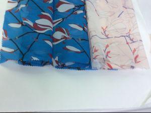 Magnolia Flower Design Printed Organza Fabric for Fashion Garment