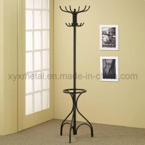 Black Metal Coat Hat Rack Hall Tree Hanger with Round Umbrella Holder Ring Stand pictures & photos