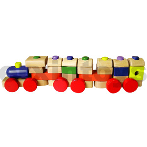 Wooden Stacking Train with Colorful Blocks (80098) pictures & photos