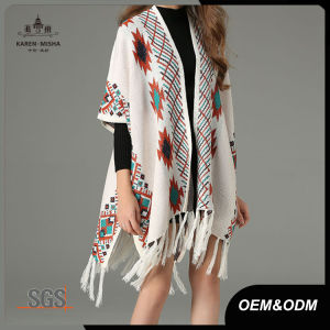 Bohemian Winter Sweater for Women Long Poncho Tassel Shawl Cardigan pictures & photos