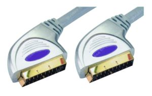 Premium Silver Zinc Metal Plug Scart Cable (WD13-009) pictures & photos
