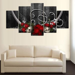 HD Printed Red Roses Skull Painting Canvas Print Room Decor Print Poster Picture Canvas Mc-145 pictures & photos