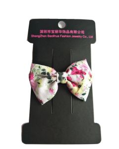Sprint Summer Elegant Flower Cotton Fabric Bowknot Hair Clips pictures & photos