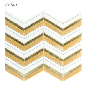 China Wholesale Gold Color Kitchen Backsplash Tile Stained Glass Mosaic pictures & photos