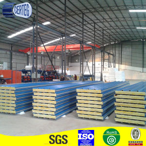 corrugated steel PU rockwool sandwich panel for roof top pictures & photos