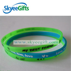 Skinny & Slim Promotional Wholesale Custom Silicone Wristband pictures & photos