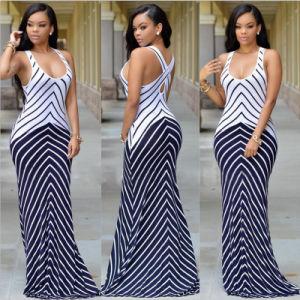 Wholesale Women Multi Color Striped Long Maxi Dress (A118) pictures & photos