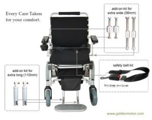 10′′ Portable Lightweight Brushless Folding Power Wheelchair with LiFePO4 Battery pictures & photos