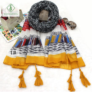 Nepal National Style Fashion Tassels Cotton Lady Fashion Scarf pictures & photos