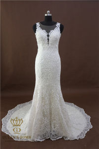 Deep V-Neck Sleeveless Mermaid Lace Summer Wedding Dress Bridal Dresses