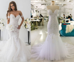 Trendy Fit and Flowy Wedding Gown pictures & photos
