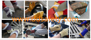 Ddsafety 2017 Cow Split Leather Work Gloves Yellow Cotton Drill Back Safety Gloves pictures & photos
