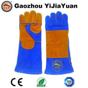 Heat Resistant Cow Split Leather Safety Welding Gloves with Kevlar Stitching Manufacturer pictures & photos