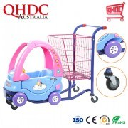 Supermarket Plastic Shopping Cart Kids Shopping Trolley with Toy Cars for Play