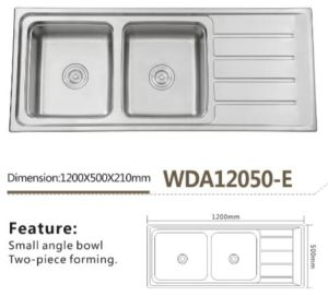 Stainless Kitchen Top Mount Sink Wda12050-E