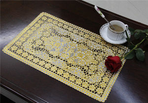 Cheap and Strong PVC Lace Gold Tablemat Size 30*46cm pictures & photos