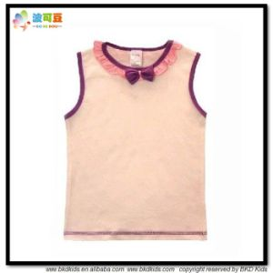 Plain Dyed Baby Wear Sleevelesss Newborn Girl T-Shirt pictures & photos