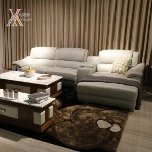 Leather Sofa with Cabinet (1616A) pictures & photos
