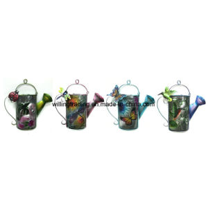 New Metal Water Can W. Stained Glass Garden Wall Decoration