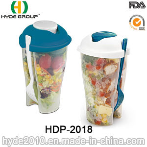Food Container Plastic Salad Shaker Cup with Fork (HDP-2018) pictures & photos