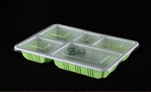 5 Compartment Plastic Sushi Tray with Lid (600ml) pictures & photos