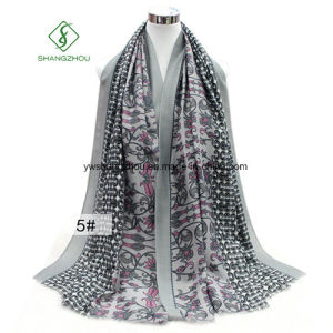 Western Shawl Tulip Printed Satin Silk Lady Fashion Scarf Factory pictures & photos