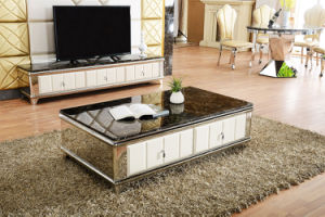 Europe Marble Top Stainless Steel Legs Coffee Table with Drawers pictures & photos
