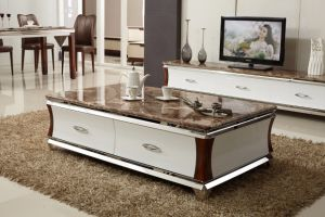 2107 Hot Selling Marble Coffee Table Wood Drawers pictures & photos
