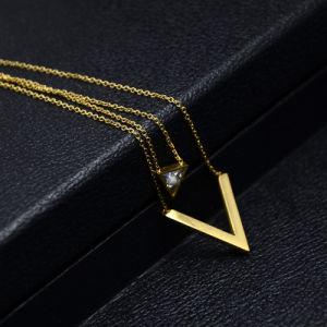 Custom Jewelry Fashion Women Double Chain V Letter Diamond Pendant pictures & photos