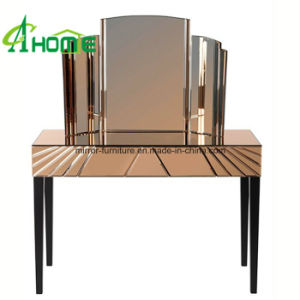 Bedroom Furniture Handmade Mirrored Nightstand/Mirrored Bedside Table with Wood Legs pictures & photos
