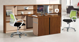 Modern Wood Furniture Staff Office Desk with Wall Bookshelf pictures & photos