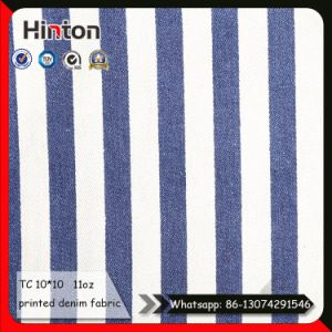 Blue White Stripe Printed Denim Fabric for Garment pictures & photos