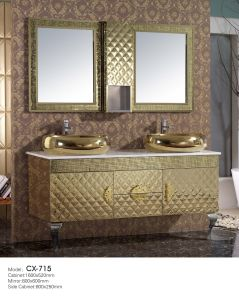 Luxury Stainless Steel Golden Bathroom Cabinet with Two Basins on The Countertop pictures & photos