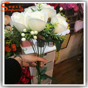 Hot Sale Artificial Decorative Metal Silk Rose Flowers pictures & photos