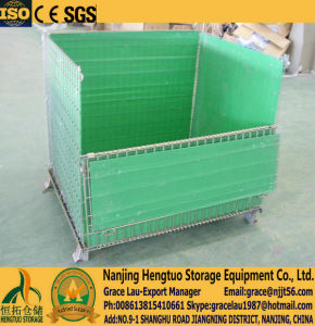 Warehouse Storage Wire Mesh Container for Warehouse Storage, Wire Mesh Pallet Basket Cage, Wire Mesh Bin with PP Sheet pictures & photos
