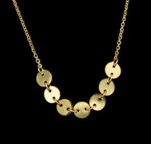 Wholesale Europe Shinny Gold Round Stainless Steel Pendant Necklace Jewelry pictures & photos