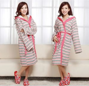 100% Cotton Women Stripes Bathrobes Sleeping Wear Nightdress