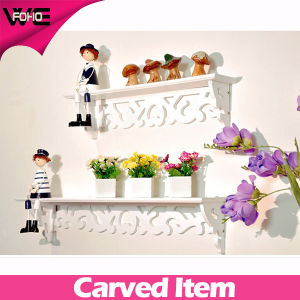 Custom Fashion Beautiful White Wooden Decorative Wall Shelves pictures & photos