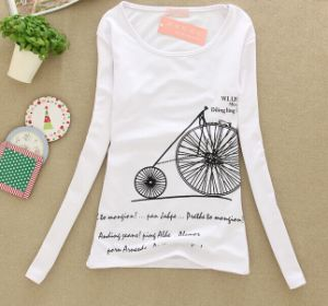 Fashion Printing Custom Long Sleeve Promotional Cotton Lady T-Shirt pictures & photos
