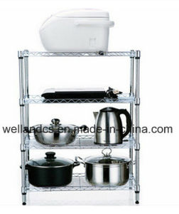 Multi-Functional Chrome Metal Wire Kitchen Shelf Rack Factory pictures & photos