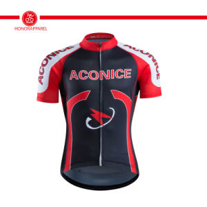 Customized Anti-Bacterial 100% Polyester Sublimated Cycling Jersey